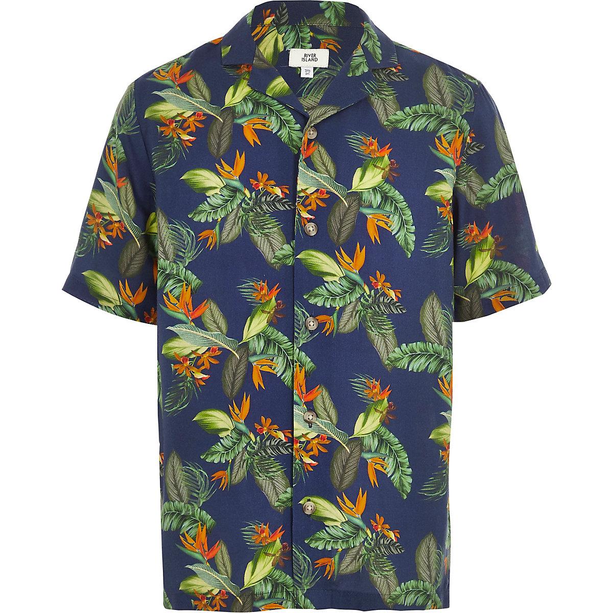 Boys navy tropical print short sleeve shirt