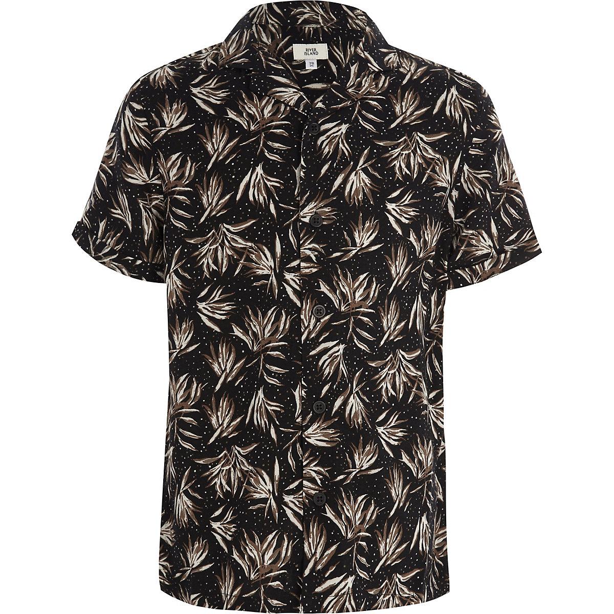 Schwarzes Kurzarmhemd mit Federprint