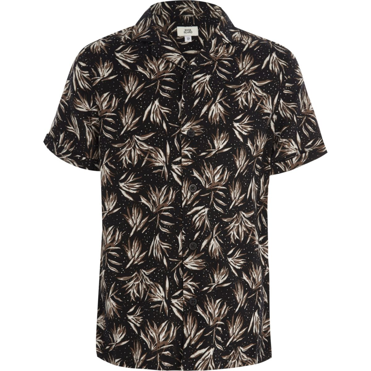 Boys black feather print short sleeve shirt