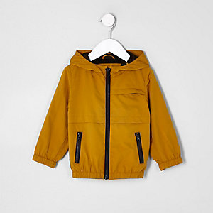 Mini boys mustard lightweight hooded jacket