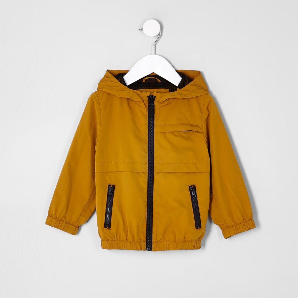 Mini boys mustard lightweight hooded jacket
