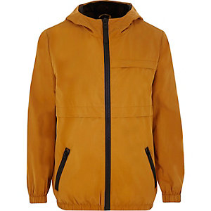 Boys mustard lightweight hooded jacket