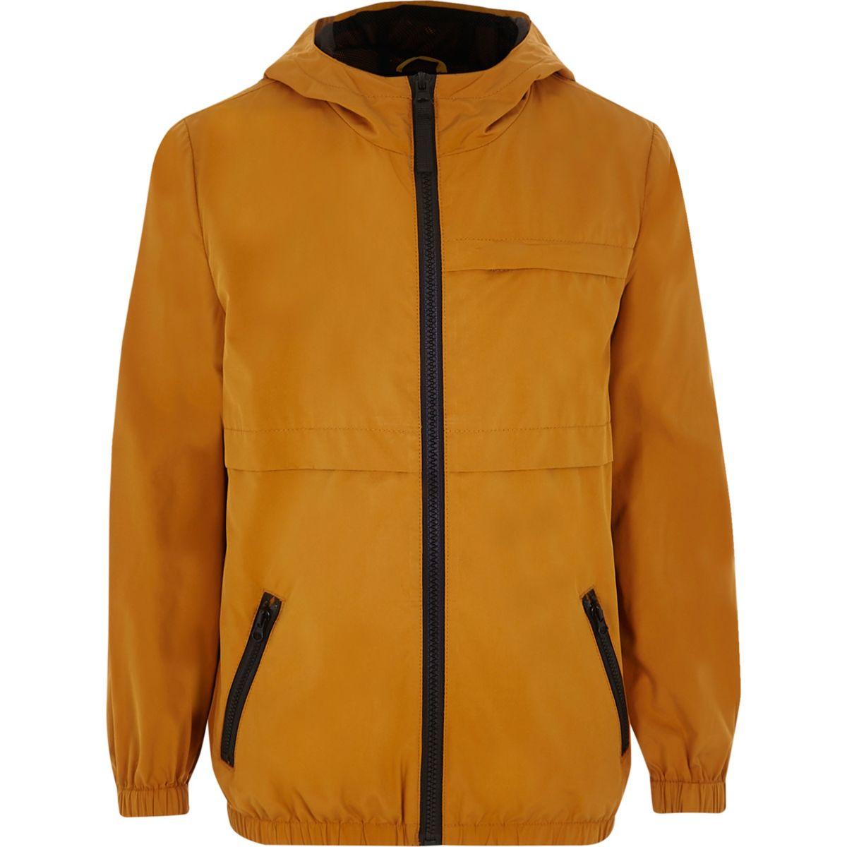 Boys mustard lightweight hooded jacket