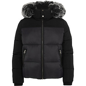 Boys black faux fur hood puffer coat