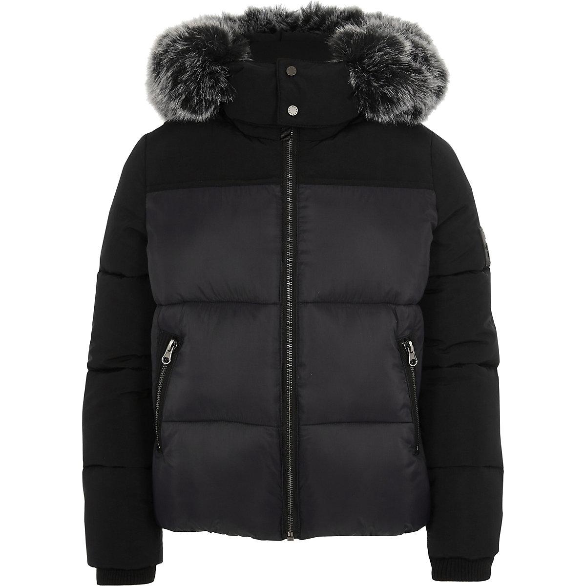Boys black faux fur hood puffer coat