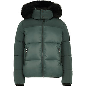 Boys green faux fur hood puffer coat