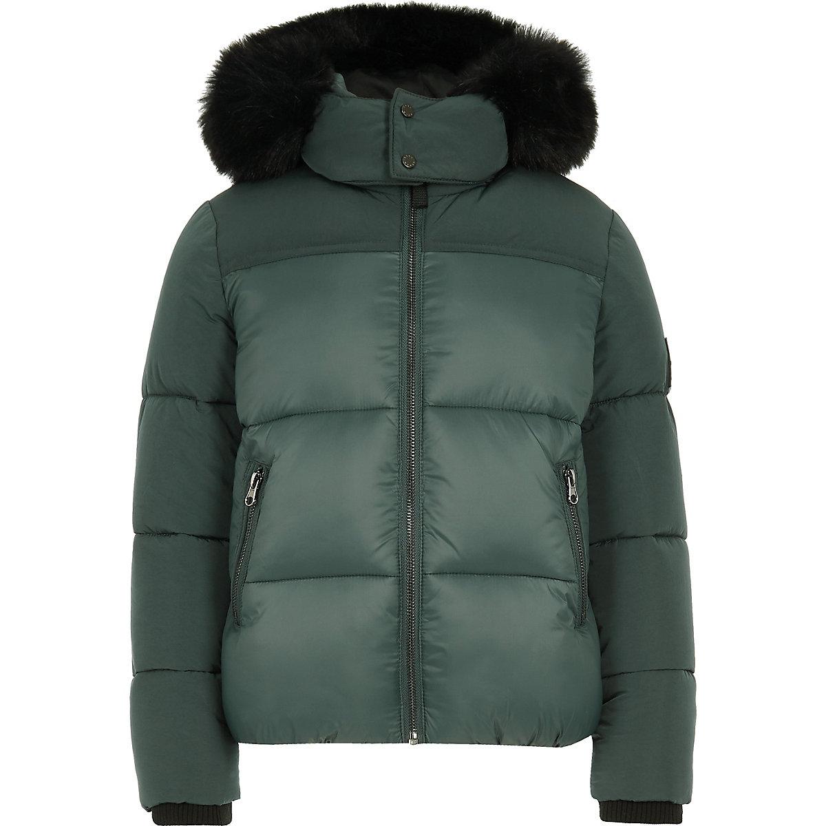 Boys green faux fur hood puffer coat
