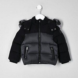 Mini boys black faux fur hooded puffer jacket
