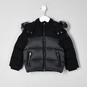 Mini - Zwart gewatteerd jack met imitatiebont en capuchon voor jongens