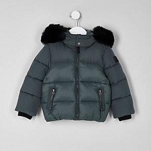 Mini - Groene gewatteerde jas met capuchon van imitatiebont voor jongens