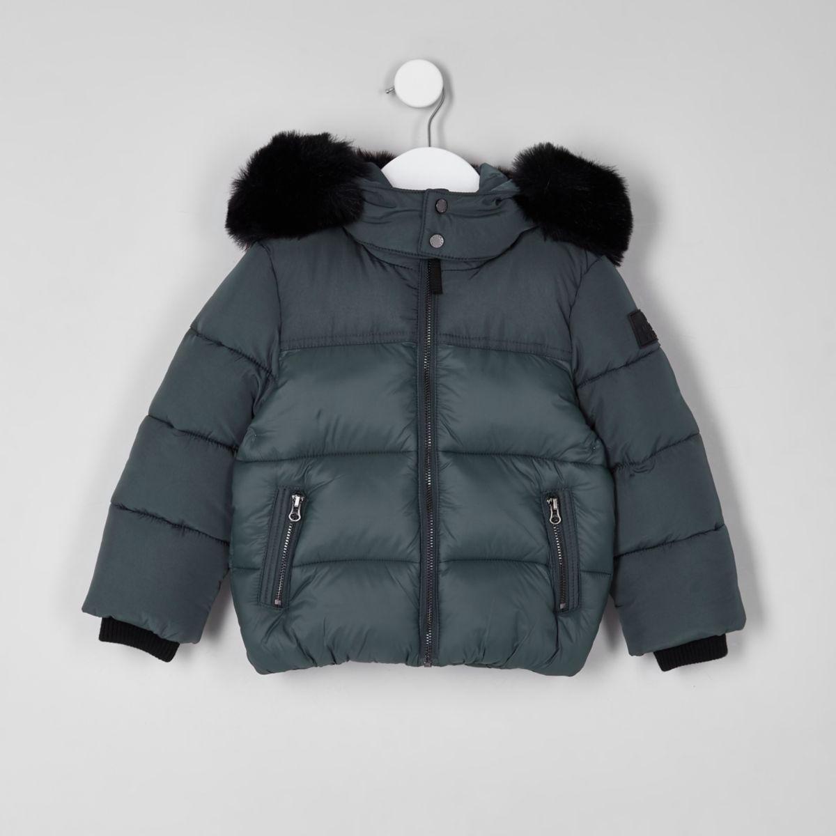 Mini boys green faux fur hood puffer coat