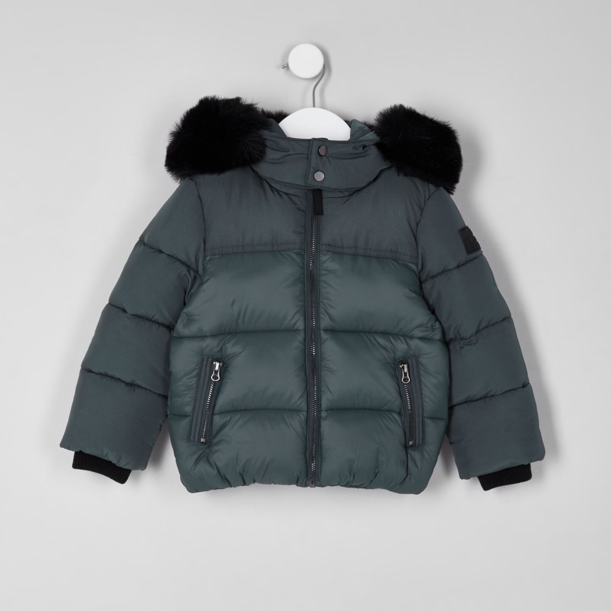 Mini boys green faux fur hood puffer coat