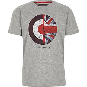 Ben Sherman - Grijs T-shirt met Union Jack en schietschijf voor jongens