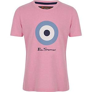 Ben Sherman – Pinkes, meliertes T-Shirt mit Zielscheibe