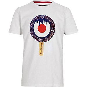 Ben Sherman – Weißes T-Shirt mit Zielscheibe