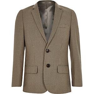 Brauner karierter Anzugsblazer für Jungen