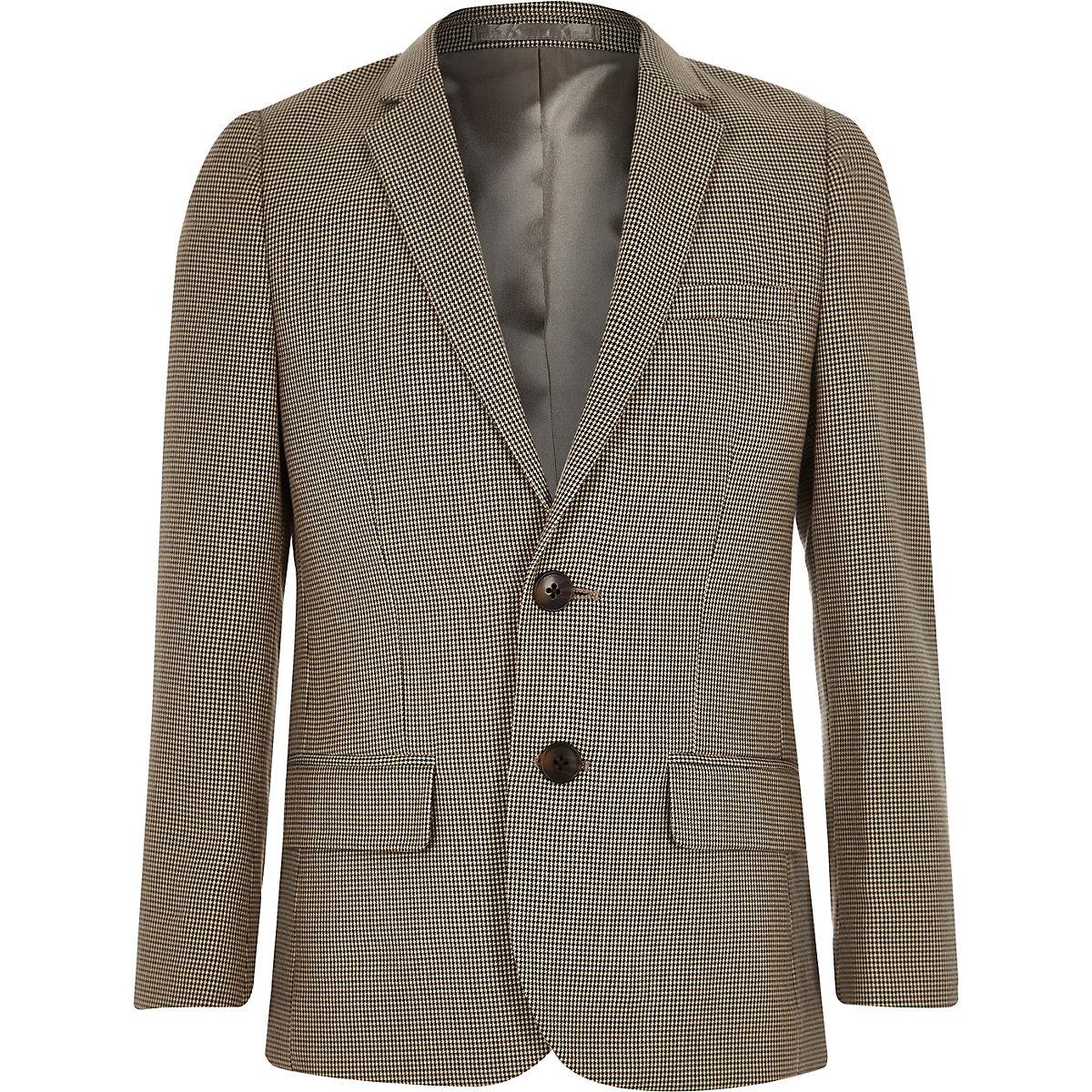 Boys brown check suit blazer