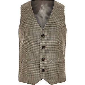 Boys brown check suit vest