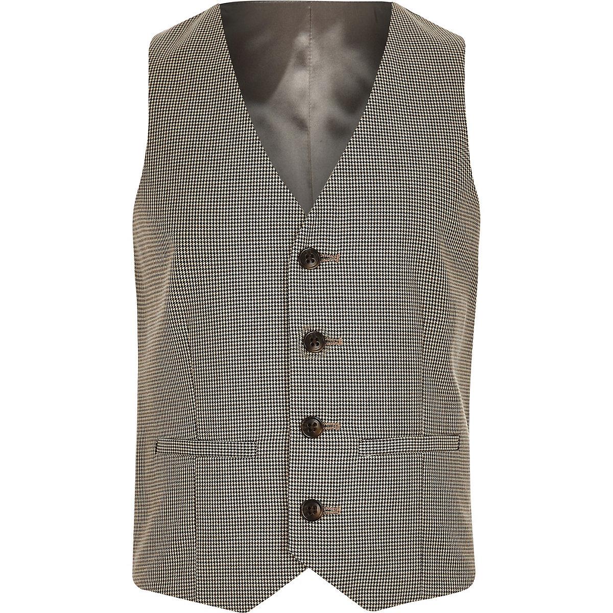 Boys brown check suit vest