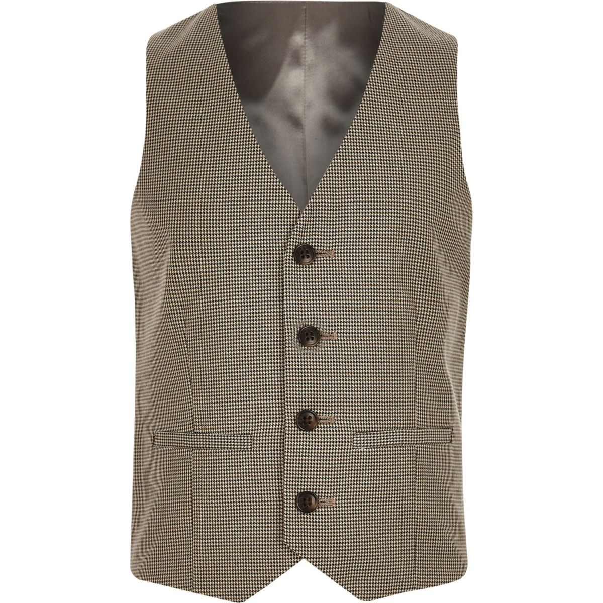 Boys brown check suit waistcoat