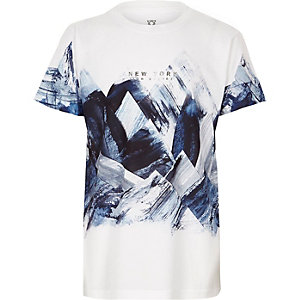 Boys white abstract print T-shirt