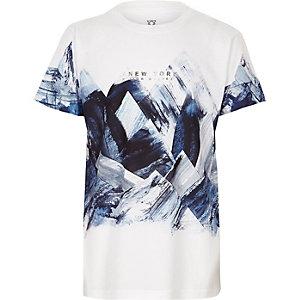 Wit T-shirt met abstracte print voor jongens