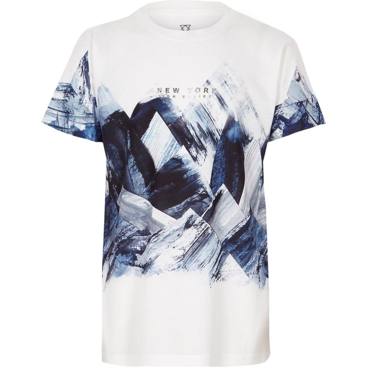 T-shirt à imprimé abstrait blanc pour garçon