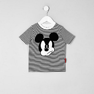 Mini boys black Mickey Mouse striped T-shirt