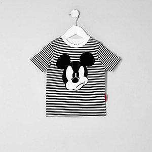 Mickey Mouse – Schwarzes T-Shirt mit Streifen