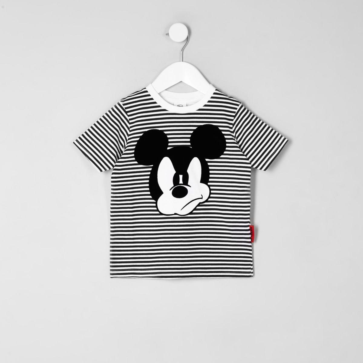 Mini boys black Mickey Mouse striped T-shirt