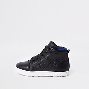 Mini boys black croc high top trainers