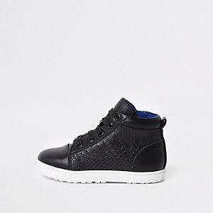 Mini - Zwarte hoge sneakers met krokodillenmotief voor jongens