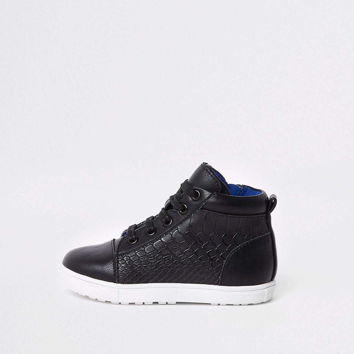 Mini boys black croc high top sneakers
