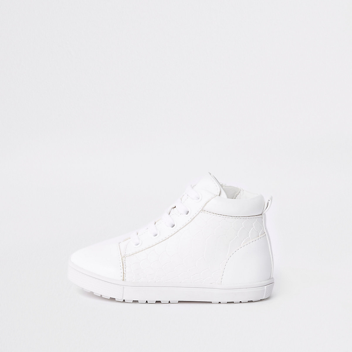 Mini boys white croc high top trainers