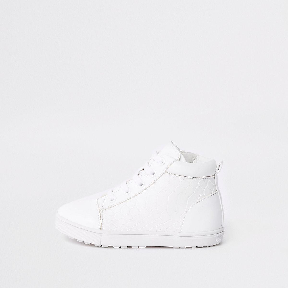 Baskets montantes blanches effet croco mini garçon