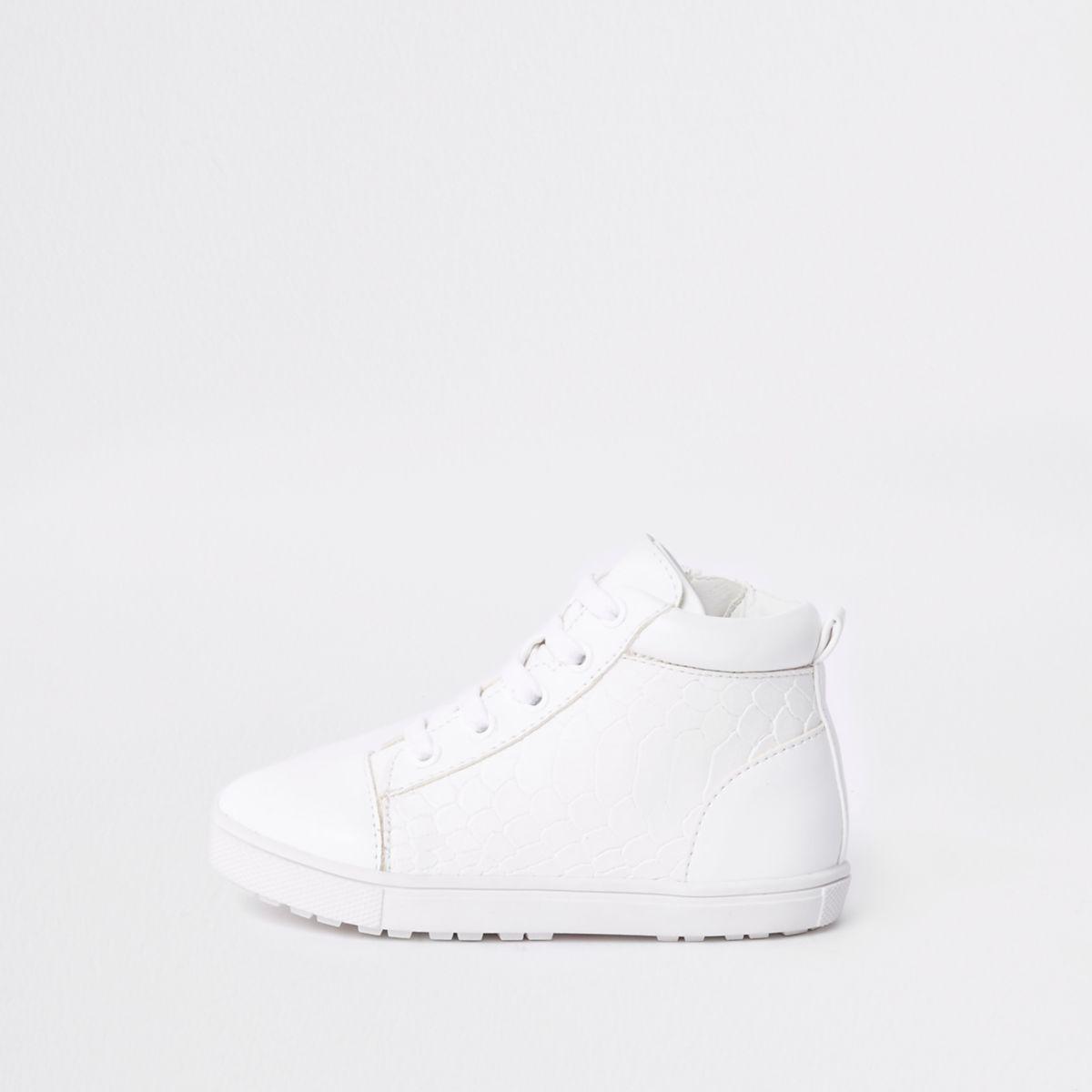 Mini boys white croc high top sneakers