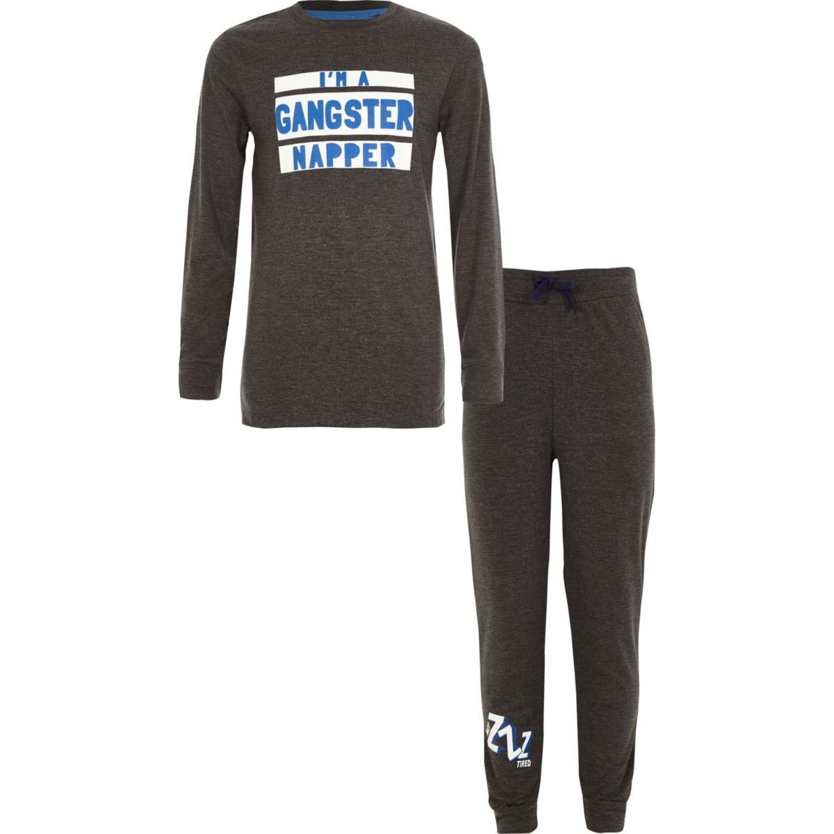 Boys grey 'gangster napper' print pyjama set