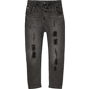 Tony – Schwarze Loose Fit Jeans im Used Look