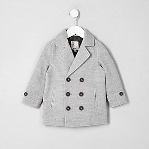 Mini boys grey wool blend pea coat