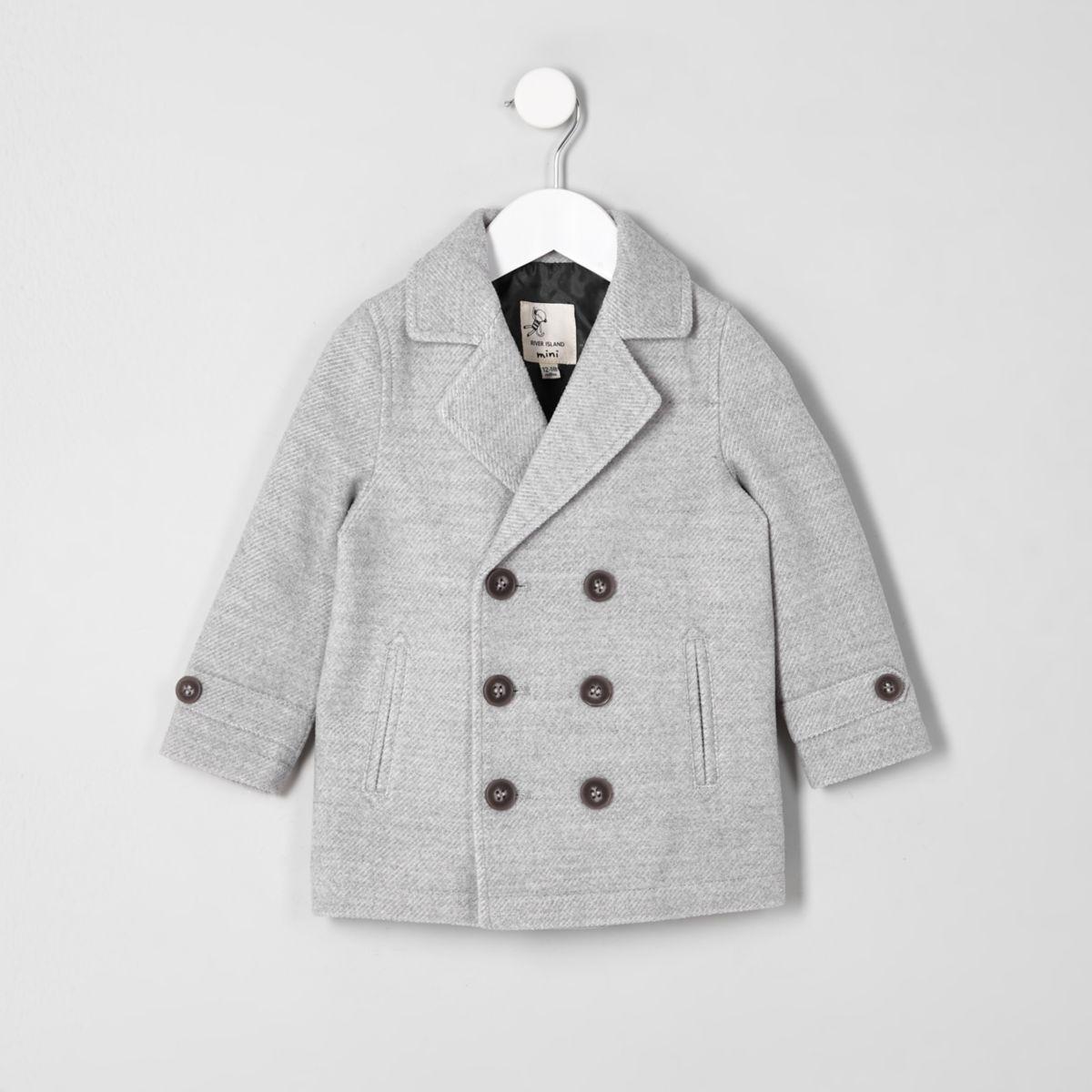 Mini boys grey wool blend pea coat