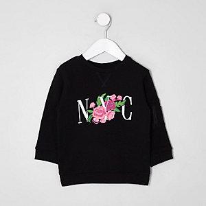 Mini - Zwart sweatshirt met NYC- en bloemenprint voor kinderen