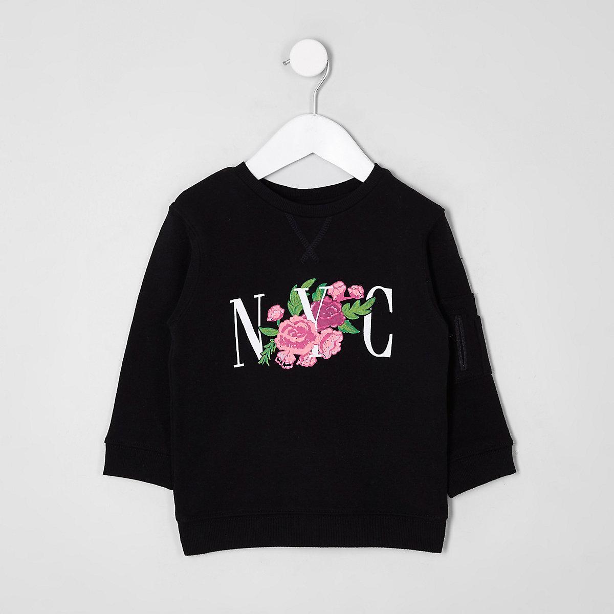 Mini kids black 'NYC' floral print sweatshirt