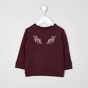 Mini - Bordeauxrood sweatshirt met bloemenprint voor kinderen