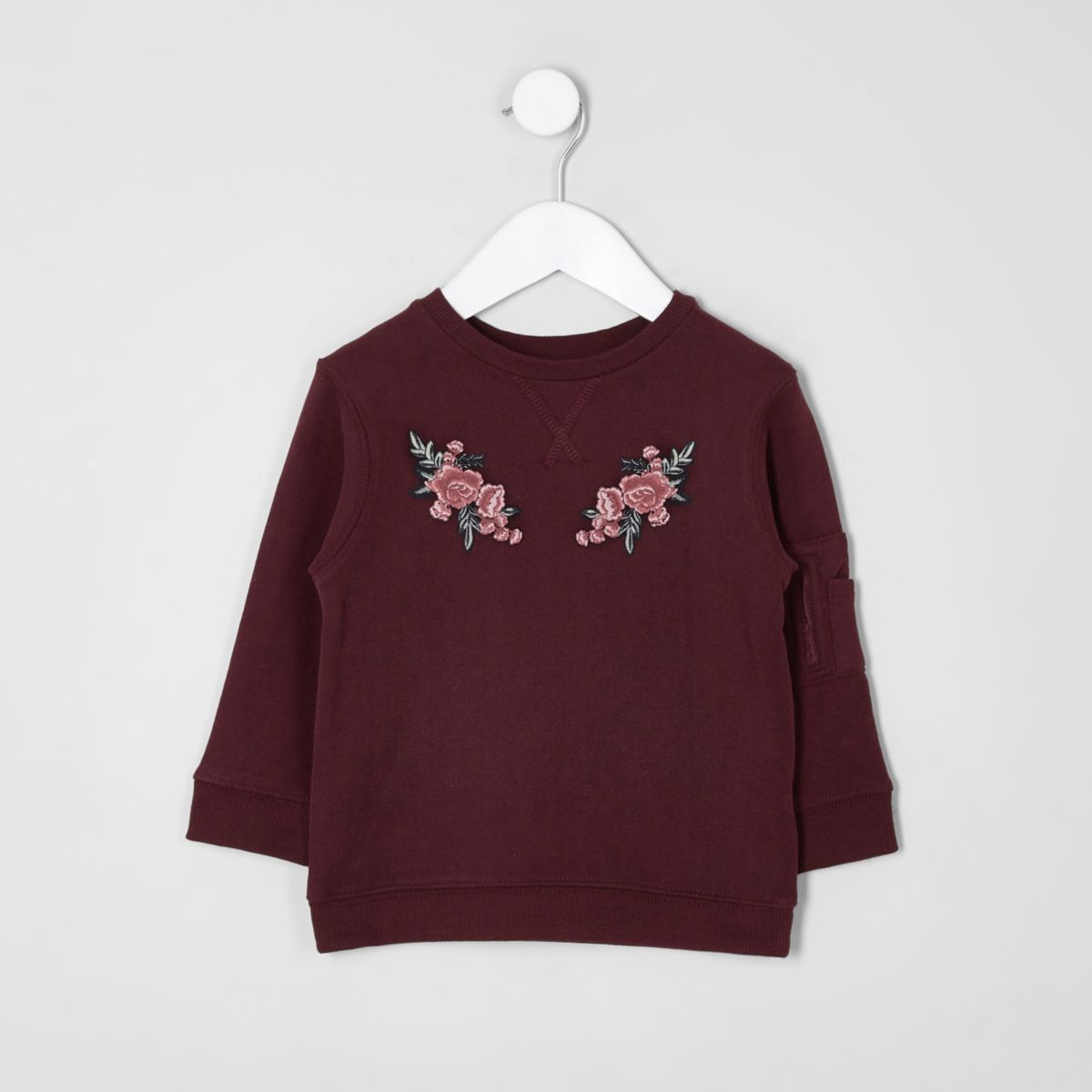 Mini kids burgundy floral sweatshirt