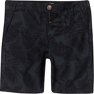 Marineblaue, geblümte Chino-Shorts