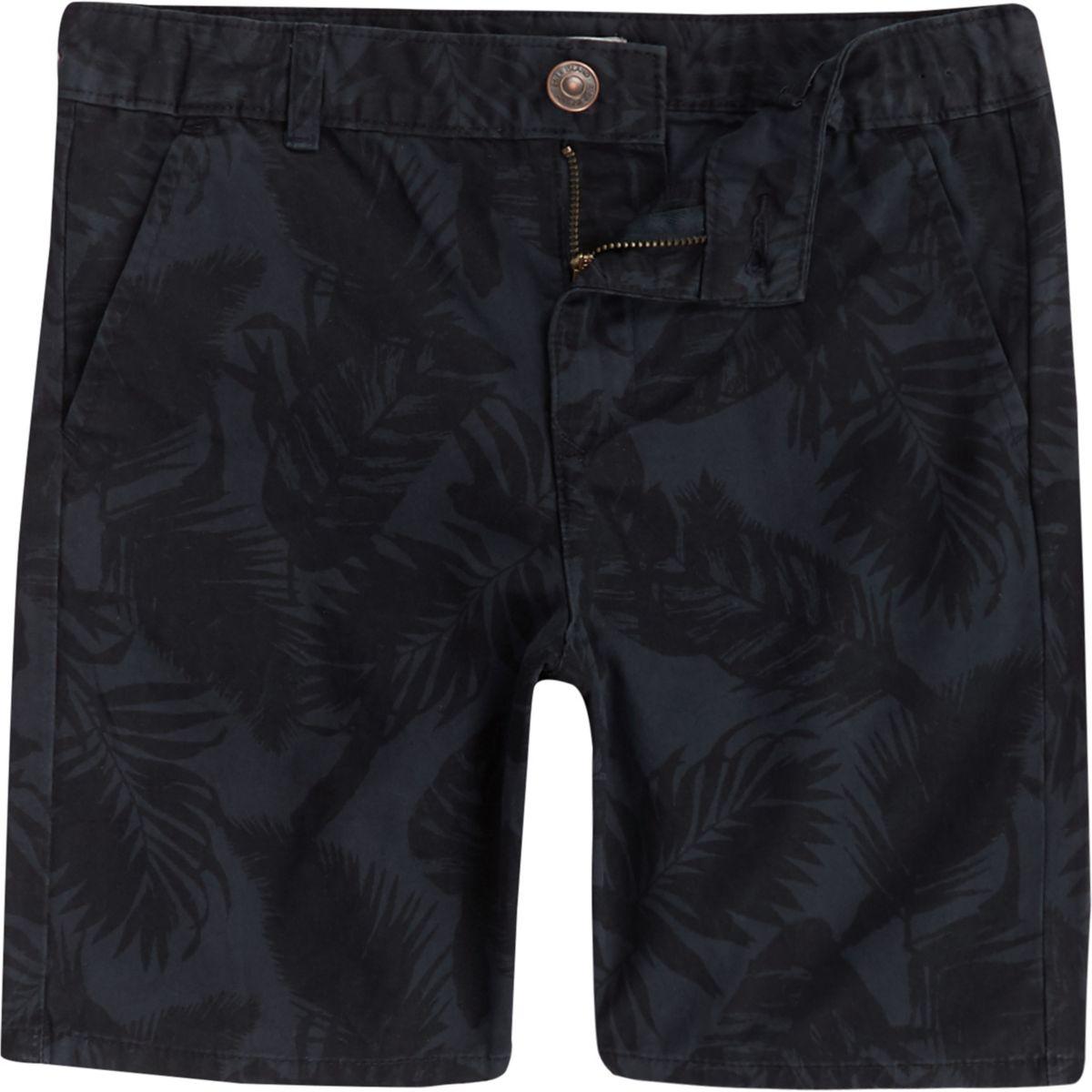 Boys navy floral chino shorts