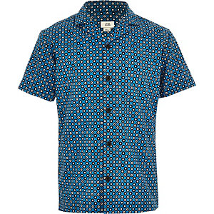 Boys tile print short sleeve shirt
