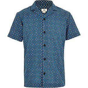 Overhemd met korte mouwen en tegelprint voor jongens
