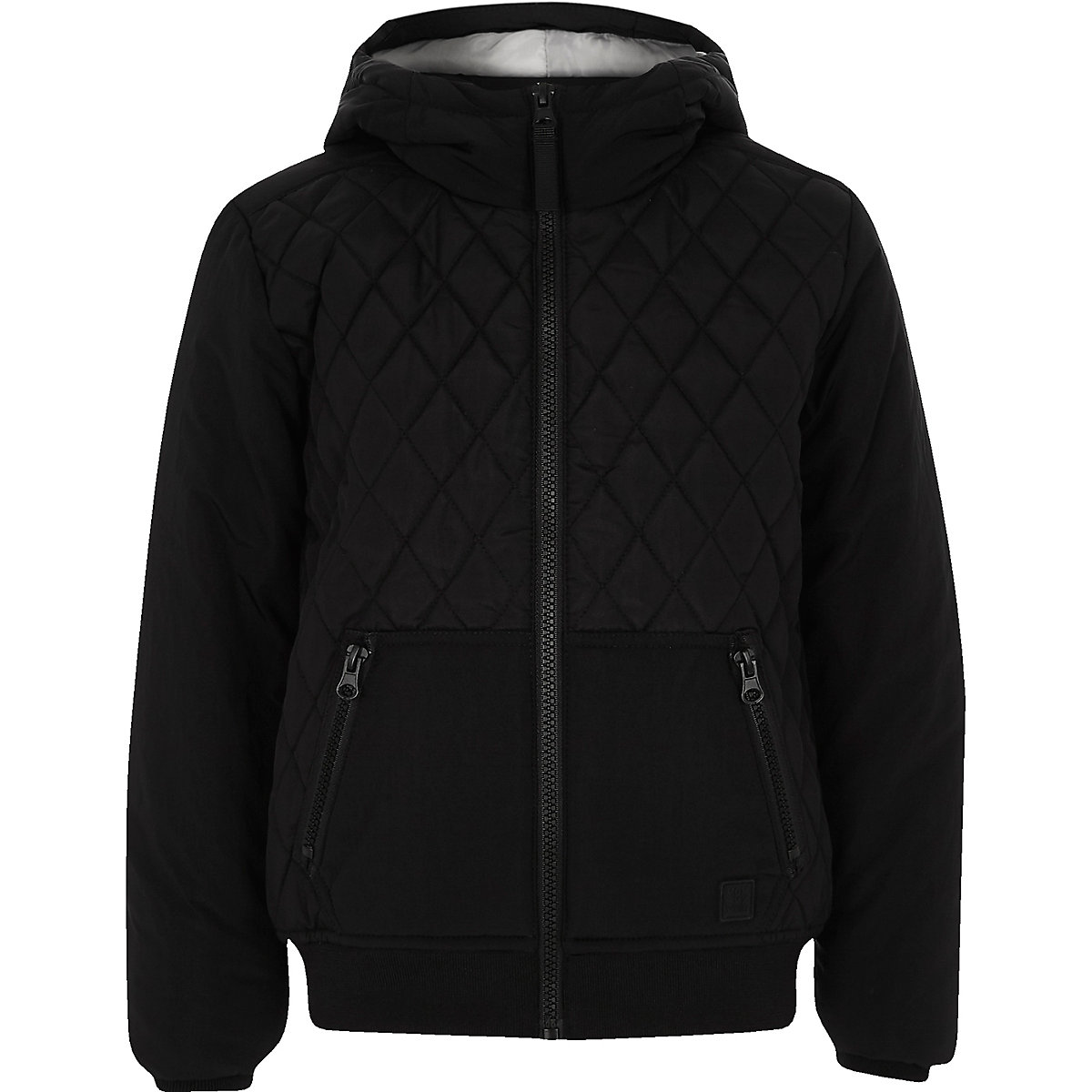Boys black quilted hooded jacket