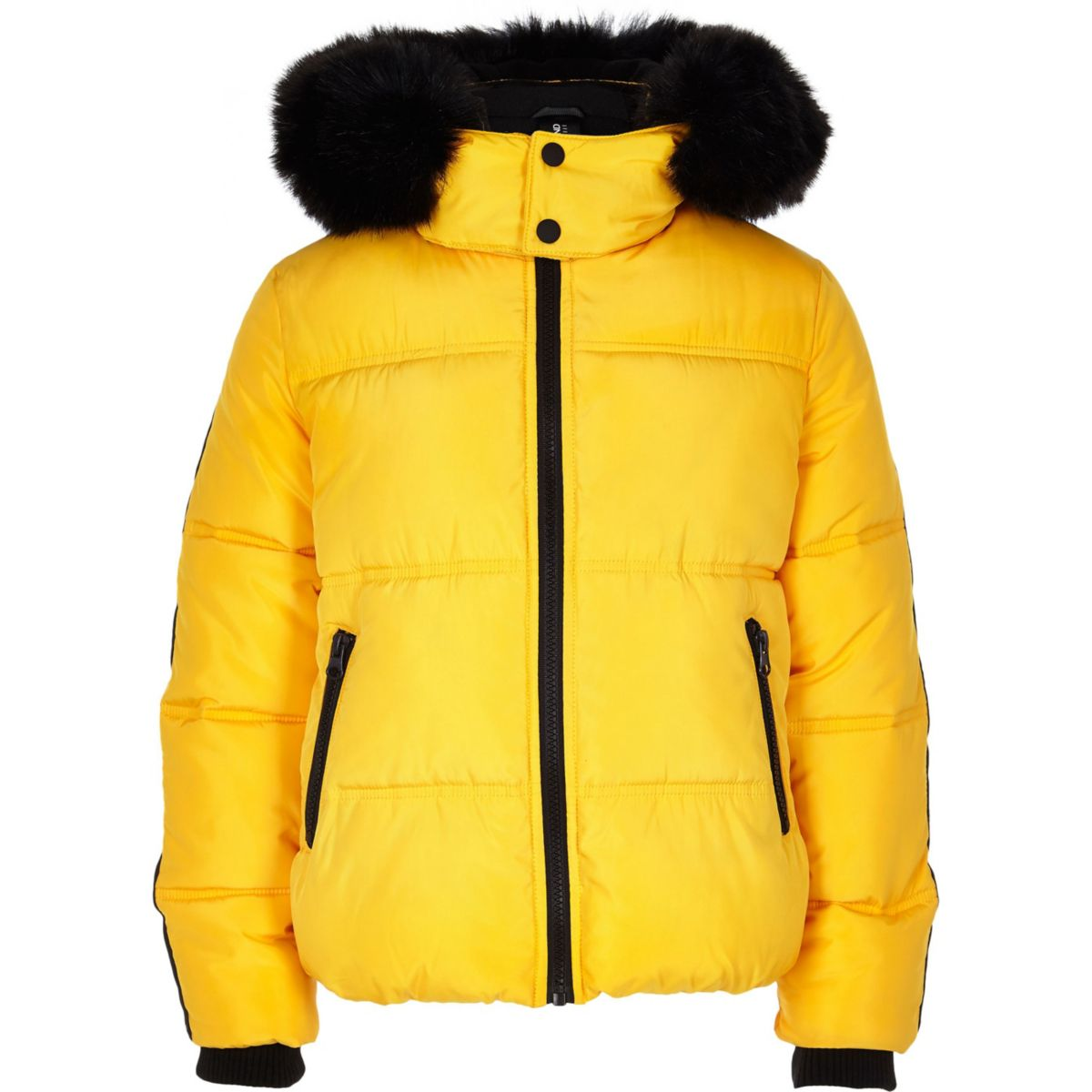 Boys yellow faux fur hooded puffer jacket